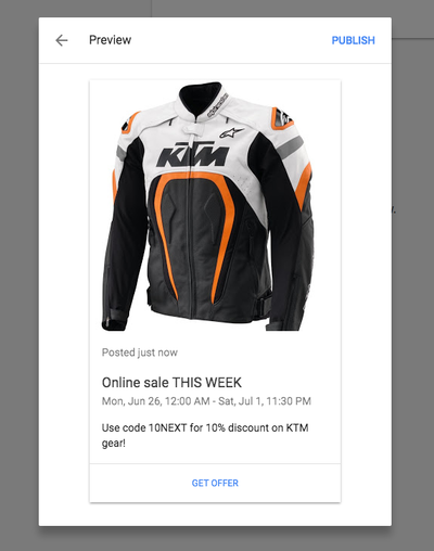 Google Business Offer Preview
