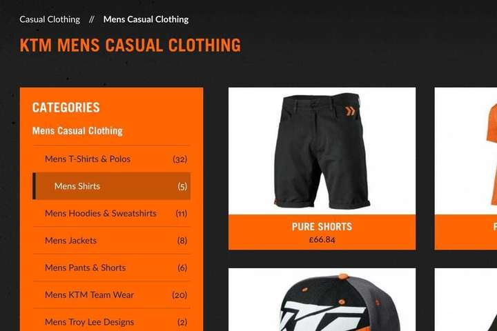 Mens casual clothing page close-up