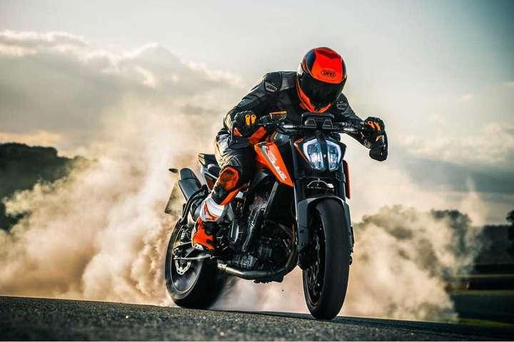 Burning rubber on a KTM bike