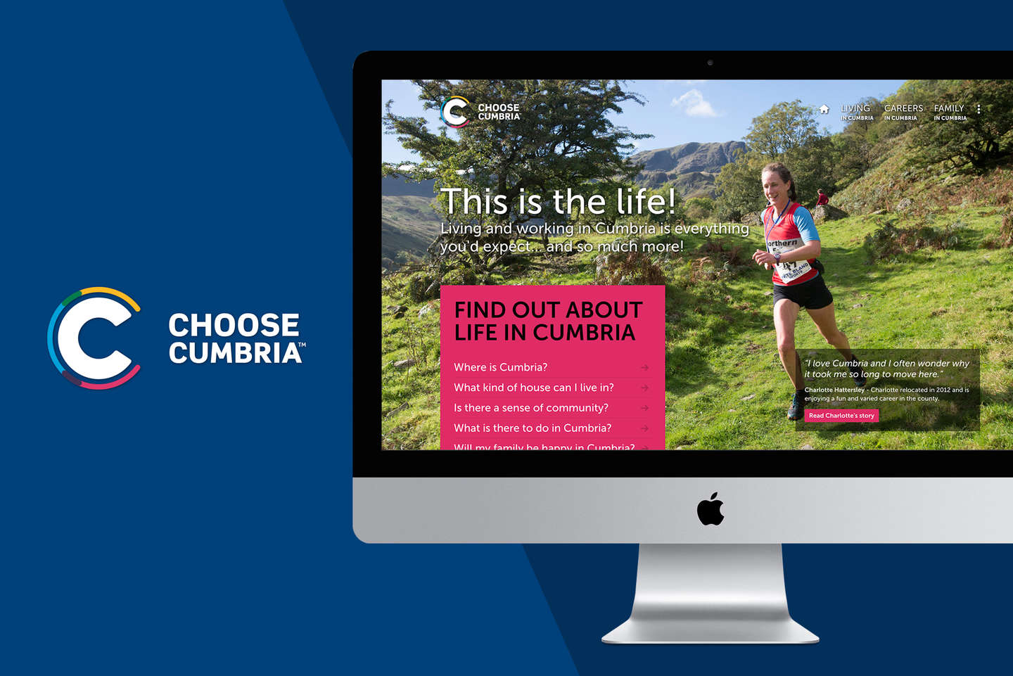 Choose Cumbria home page on desktop computer