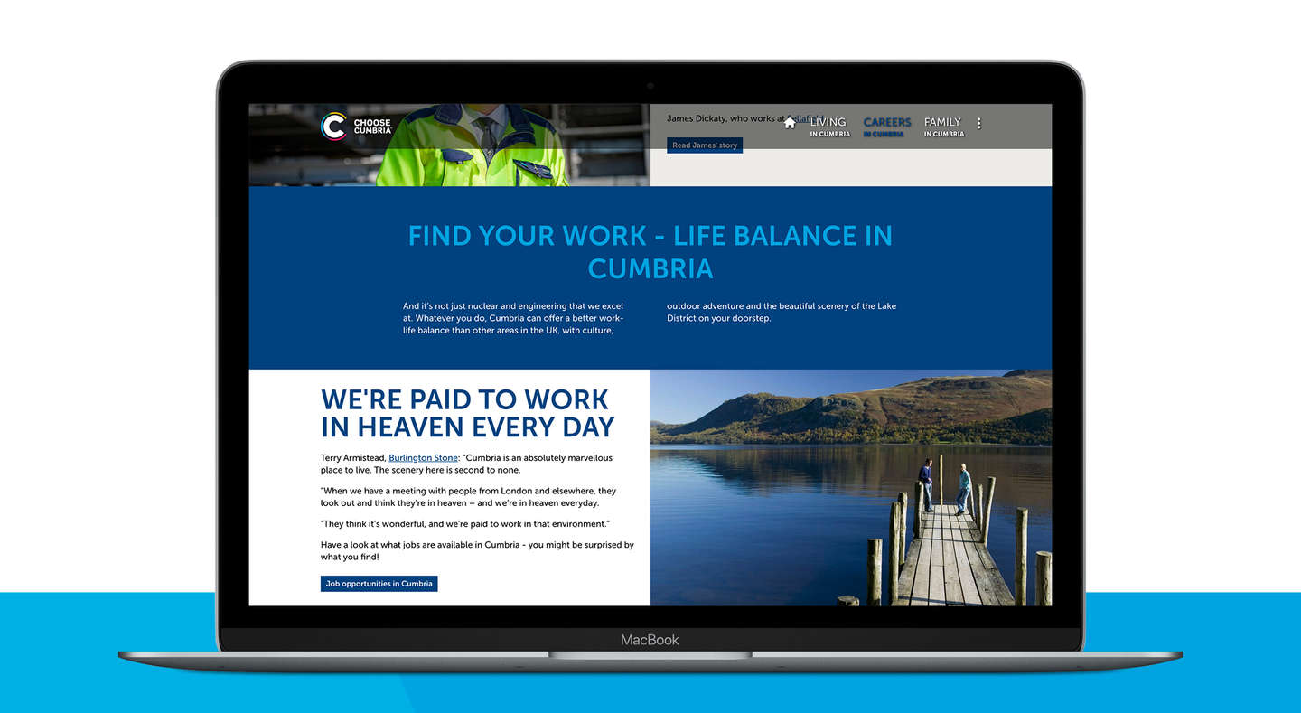 Choose Cumbria website on a laptop