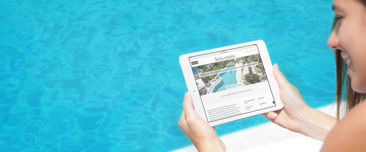 Lavin Estates website viewed on an iPad